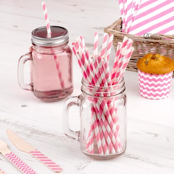 Trinkhalme, pink weiss gestreift, 25 Stück