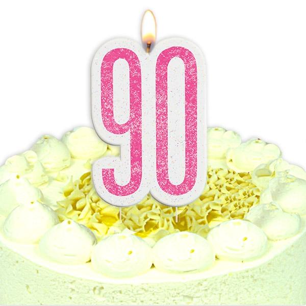 Geburtstagskerze Zahl 90, in schimmerndem Pink