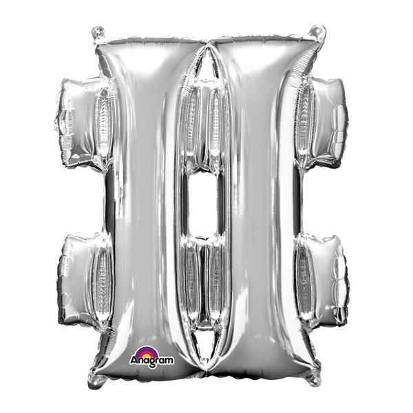 Mini Folienballon Sonderzeichen #, Hashtag aus silberner Folie, 33cm