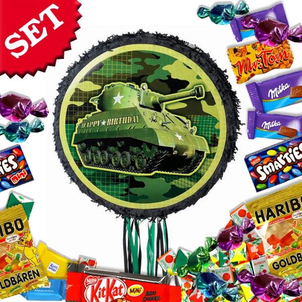 Panzer-Zugpinata im Set +Süßes