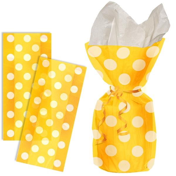 Geschenktüten in Gelb mit weißen Punkten, 20 Stück, durchsichtige Folie
