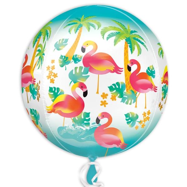 Flamingo Folienballon, kugelrund, Ø 40cm