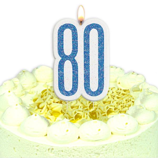 Geburtstagskerze Zahl 80, in schimmerndem Blau für Mann