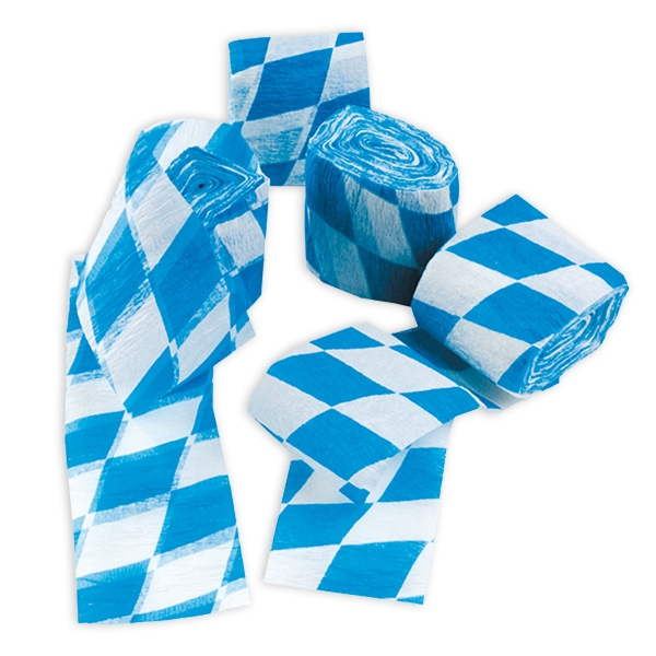 Bayrisches Kreppband, 4 Rollen, blau-weiß für Oktoberfest-Deko, 10m