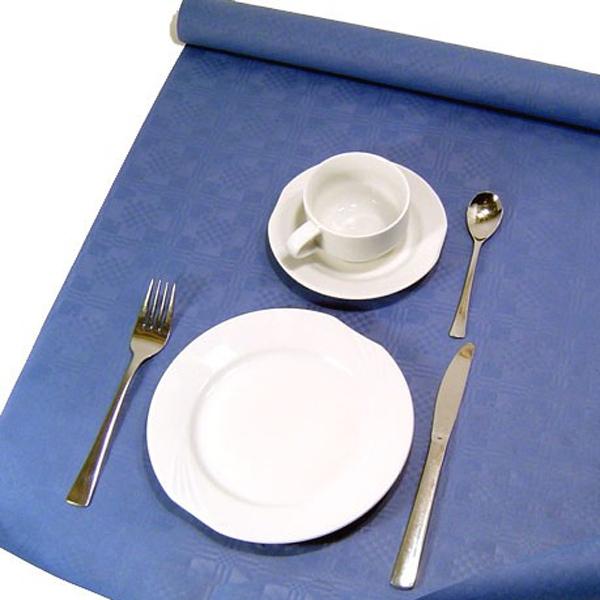 Tischdecke dunkelblau, auf Rolle in tollem Damastdesign, Papier 8x1,2m