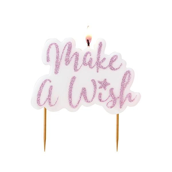 """""""Make a Wish"""" Geburtstagskerze, pink, 1 Stk."""