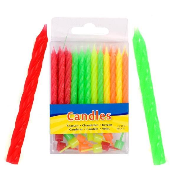 Geburtstagskerzen in verschiedenen Neonfarben, 24er +12 Halter, 5,5cm