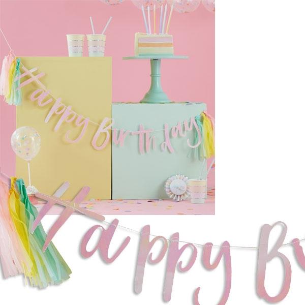 Pastell Buchstabenkette mit Quasten, 2m, Party Girlande