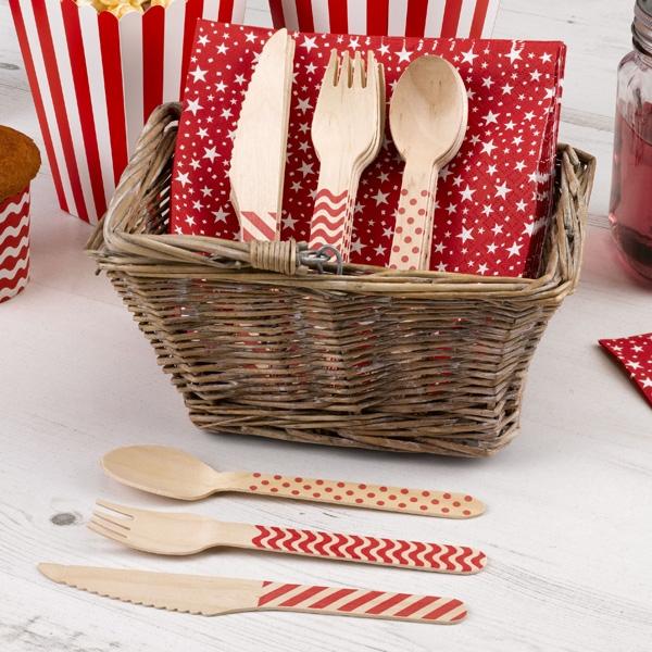 Holzbesteck rotes Muster 24-tlg., Partybesteck je 8 Messer,Gabel,Löffel