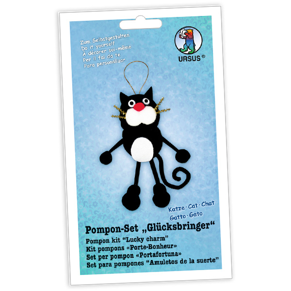 """Pompon-Glücksbringer Bastelset """"Katze"""""""