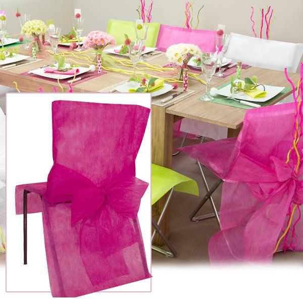 Stuhlhussen in Pink, aus Vlies, 10 Stück für festliche Stuhldekoration