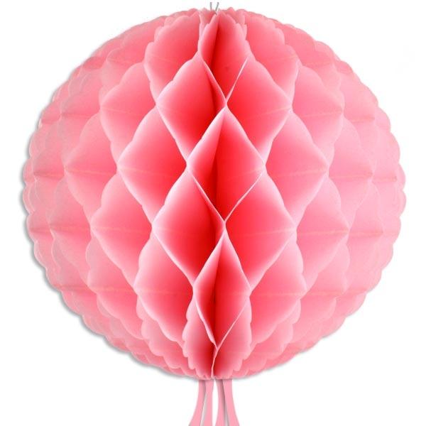 Wabenball in Rosa, 30cm, mit Schnur zum Aufhängen und Bändern, 1 Stück
