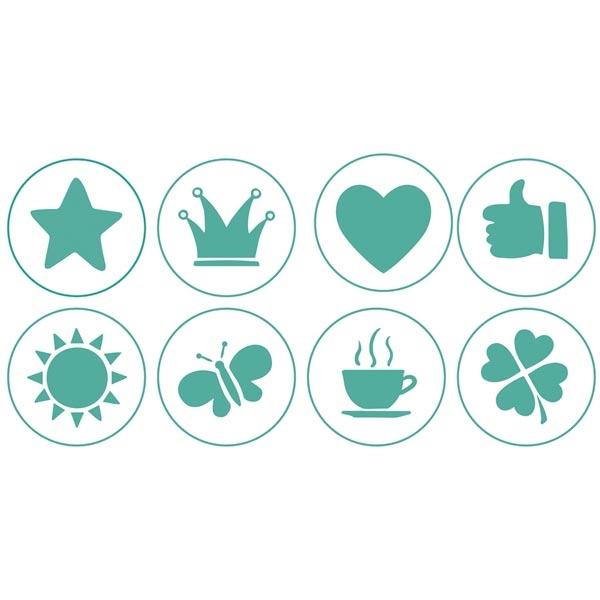 Plätzchen-Stempelset: 8 Silikonstempel, Rezept, Halter, Ausstecher