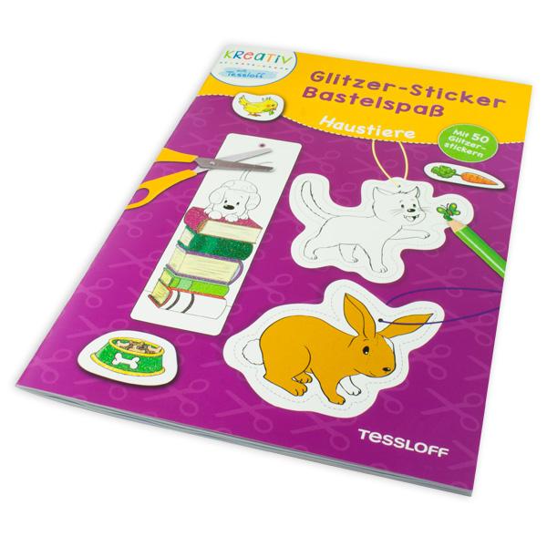 Glitzer-Sticker Bastelspaß, Haustiere