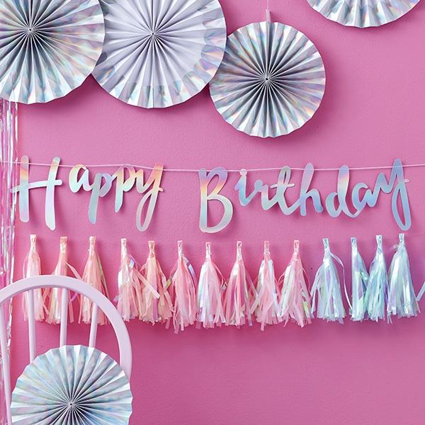 "Schimmernde ""Happy Birthday"" Girlande, 1,5m"