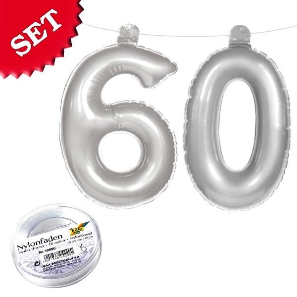 Aufblasbare Zahl 60 silbern, Deko für 60. Geburtstag & Diamantenhochzeit