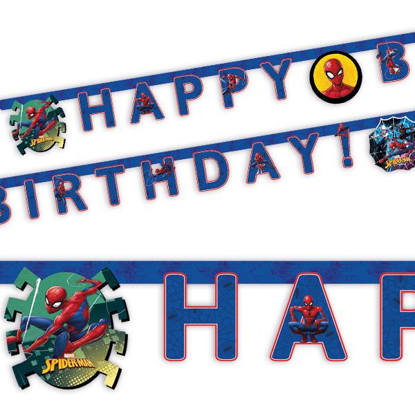 """Spiderman Buchstabenkette, """"Happy Birthday"""", 2m"""