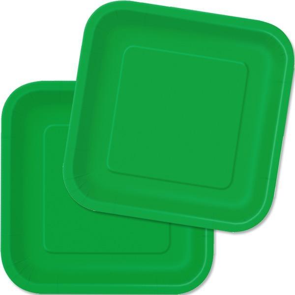 Eckige Teller smaragdgrün 16 Stück quadratische Partyteller, Pappe,18cm