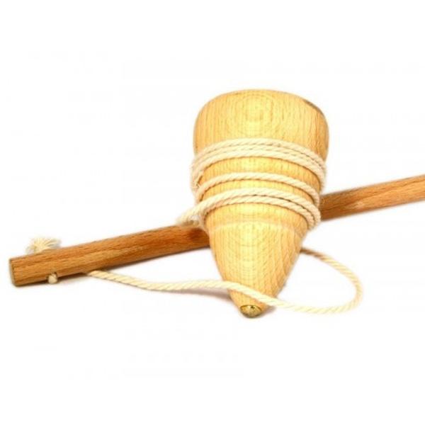Kinder-Kreiselspiel mit Peitsche, der Klassiker mit Holzkreisel 7,5 cm