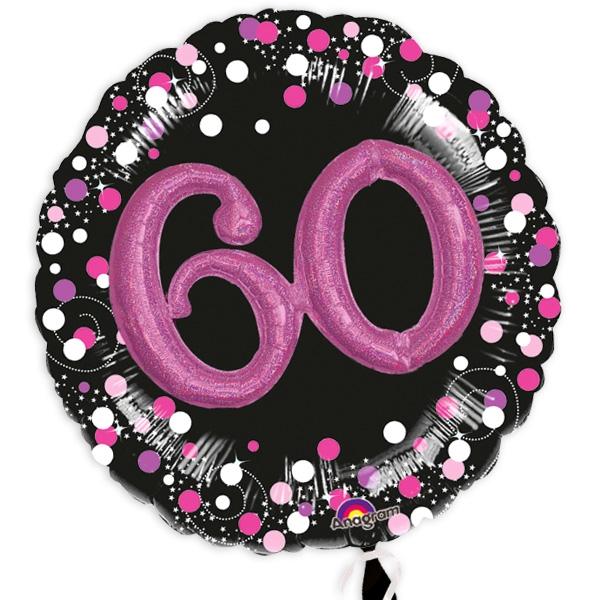 XXL Glitzer-Folieballon Set mit 3D Effekt zum 60. Geburtstag