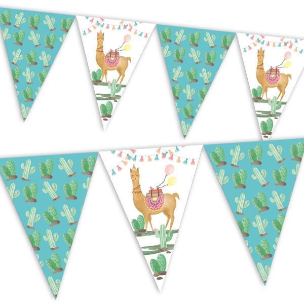 Lama Wimpelkette für Kinder, 2,3m, 1 Wimpel-Kette mit Lamas & Kakteen