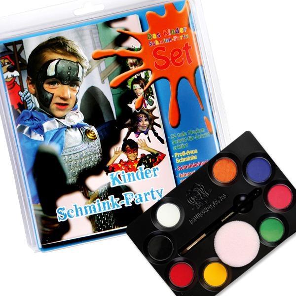 Kinder Partyschminke, mit 8 Farben, Pinsel, 4 Schwämmen, Schminkbuch mit 22 Partymasken mit ausführl. Schminkanleitung