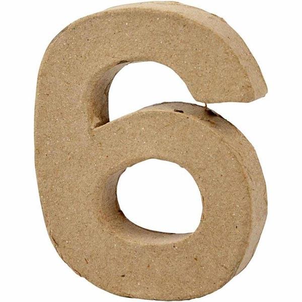 Zahl 6, handgearbeitet aus Pappe, zum Basteln, Bemalen, Verzieren