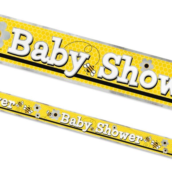 Bienchen Partybanner Metallic 3,6 m, süße Baby Shower Partydeko, 1 Stk.