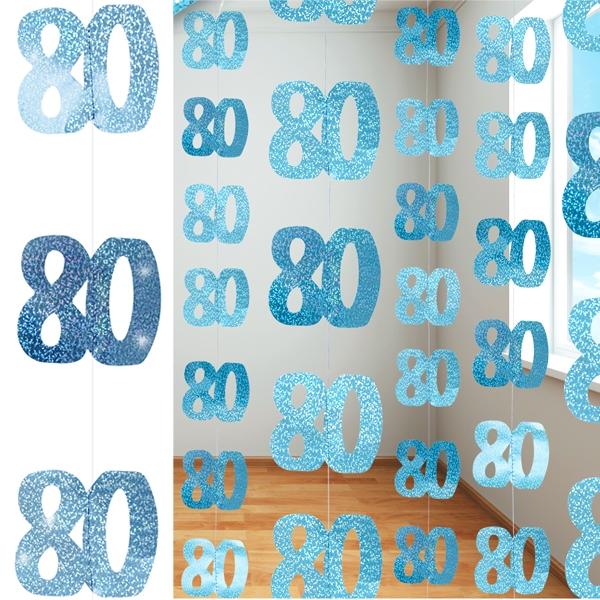Glitzer-Deko, Zahl 80, in Blau, 6-teilig, je 1,5 m lang