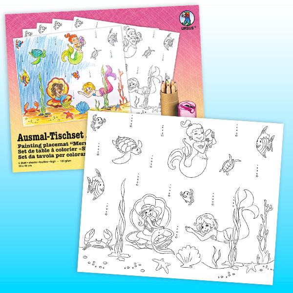 """Tischset zum Ausmalen """"Meerjungfrau"""", 5er Pack"""