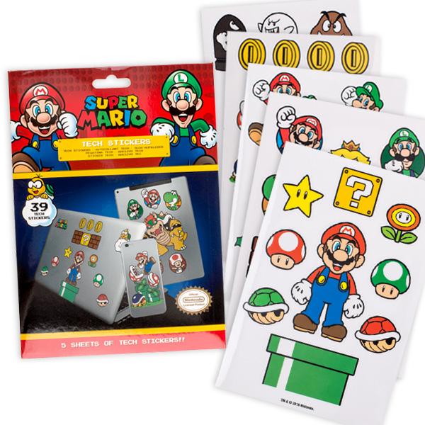 Super Mario Tech-Sticker, selbstklebend, 39 Stück