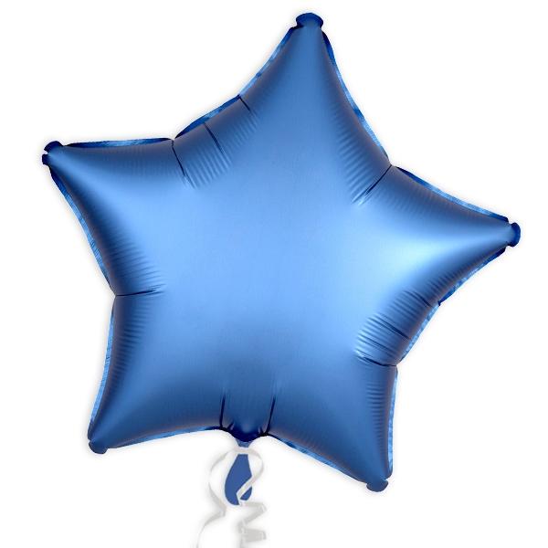 Folienballon Stern, Satin Luxe Azurblau, 45 cm