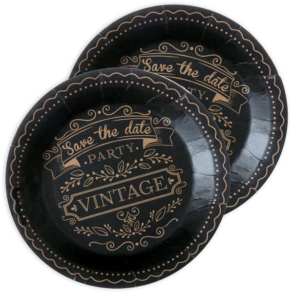 Vintage Pappteller, 10 Stk, 22,5cm