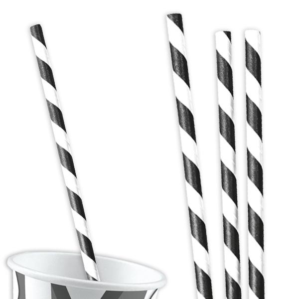 12 Trinkhalme, schwarz-weiß gestreift, 19,5cm