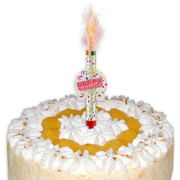 """Tortenfontäne """"Happy Birthday"""" mit Einstecker, 12cm, 1 Stück"""