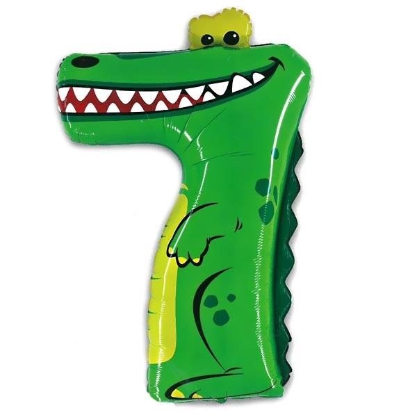 XXL Zahlenballon - Süßes Krokodil - Zahl 7, heliumgeeignet