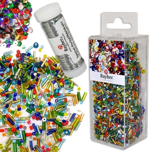 Pailletten, Glasperlenmix und Draht, 90g Mix u. Draht 50m x 0,3mm