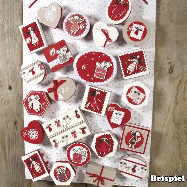 Bastelset zum Adventskalender selber basteln, mit 24 Papp-Kästchen
