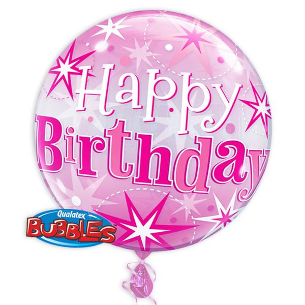 "Bubble Ballon ""Happy Birthday"" in pink, 56cm, heliumgeeignet"
