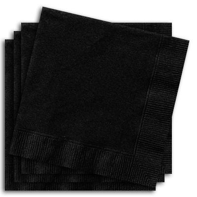 Servietten schwarz 20 Stück einfarbige Partyservietten, 33cm