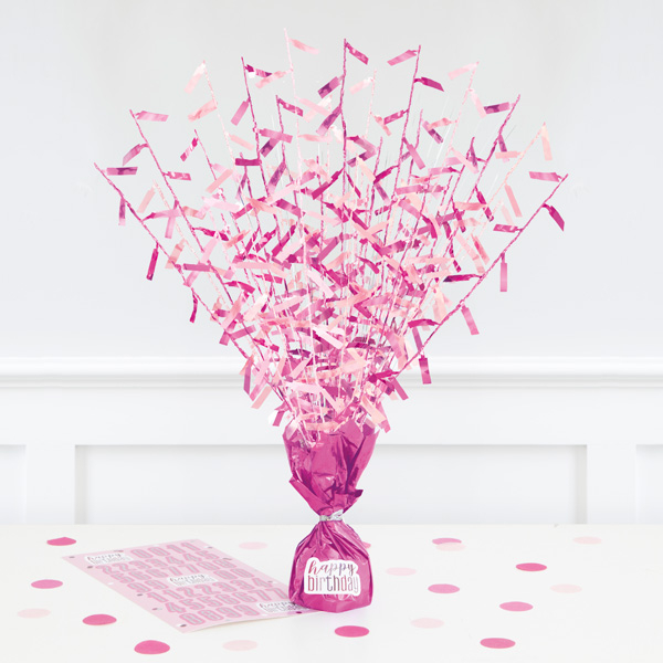 """""""Happy Birthday"""" Ballongewicht-Tischdeko, Pink +43 Sticker"""