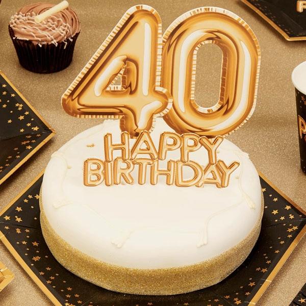 Cake Topper 40 HAPPY BIRTHDAY,Gold,Glitzer&Glamour Kuchendeko, Party, Geburtstag