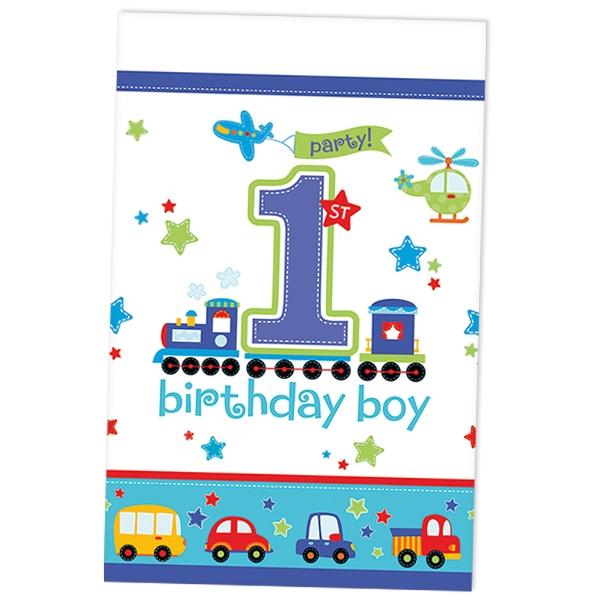 On Tour Tischdecke Folie 137×259cm für 1. Kindergeburtstag von Jungs