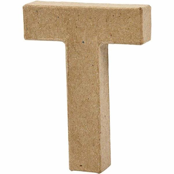 T Buchstabe, handgearbeitet aus Pappe, zum Bemalen/Bekleben, ca. 10 cm