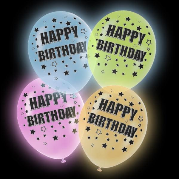 LED Luftballons Happy Birthday, bunt 4 Stk, 27,5cm