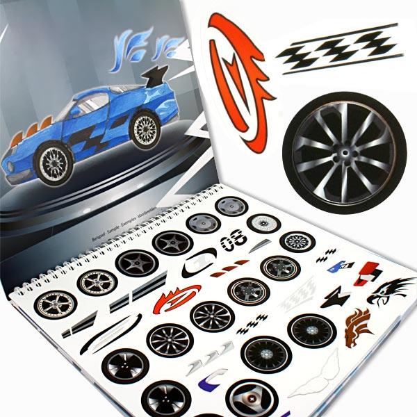 Rennwagen Sticker-Schablonenbuch mit tollen Malschablonen & Stickern