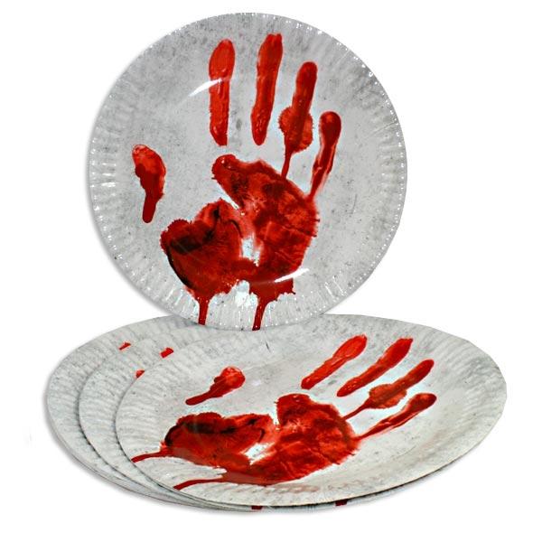 Partyteller -Blutige Hand-, 10er Pack, 23cm, Pappteller zur Gruselparty, Halloween
