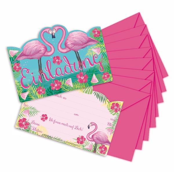Flamingo Einladungen inkl. Umschläge, 8er Pack
