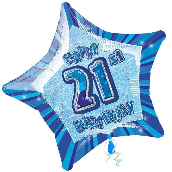 Folienballon sternförmig +Zahl 21, blau, 45cm, für Helium