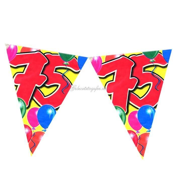 Wimpelkette zum 75. Geburtstag im Ballondesign, 10m